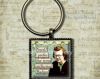 Nerd Humor, Vintage photo collage, Nerd Quote, Nerd Key Chain, Gift for Proud Nerd, Girlfriend gift, 50's vintage fashion, Girl with Glasses
