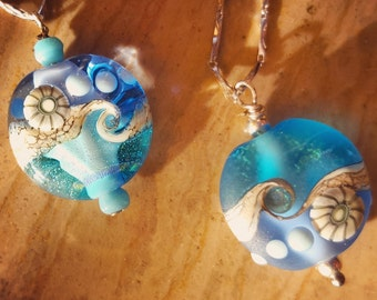 Murano glass pendant. Blue ocean wave. Shiny or etched. Sterling Silver chain 925. Summer Jewels. Beach wedding jewelry.