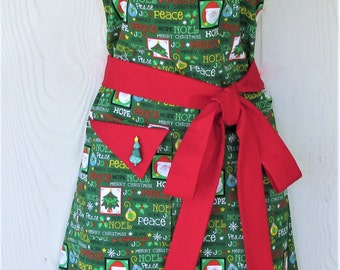 Retro Christmas Apron, Christmas Trees, Santa Claus, Christmas Greetings, Handmade Apron, KitschNStyle