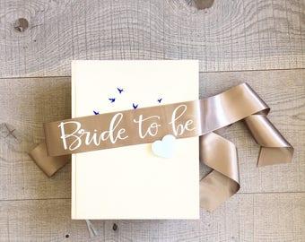 Bachelorette sash, bride to be sash, beige and white sash, bachelorette sash with white heart pin, hen sash, hen party sash, bridal sash