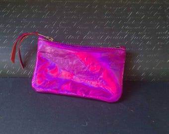 Holographic leather purse,  pink coin or phone purse, gift idea, leather purse, coin purse with zipper, metallic purse, holographic pouch