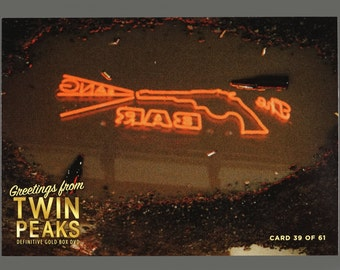 Twin Peaks Gold Box Postcard Card # 39 of 61 Roadhouse Bar Neon