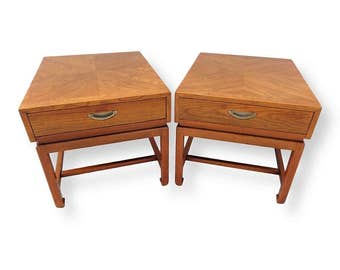 VVH Vintage Mid Century Modern American Of Martinsville End Tables  Nightstands With Bookmatched Tops Campaign Style