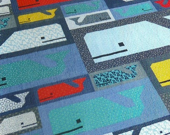 Preppy Pod Whale Quilt Pattern by Elizabeth Hartman of Oh Fransson, modern quilt pattern, modern nautical quilt, whale quilt, ocean, sealife