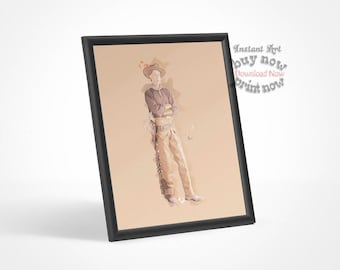 Modern art PRINTABLE, Western Art, Vintage Cowboy, Old West, Western Theme, Minimalist, Contemporary Room Decor, Bedroom, Office