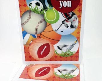 Boy Sports Thank You Note Card - 18 Boxed Cards & Envelopes - B14103