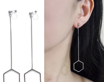Trendy Hexagon Invisible Clip On Earrings Hoop Clip Earrings Silver Clip On Earrings Dangle Clip Earrings Drop Clip-Ons Non Pierced Earrings