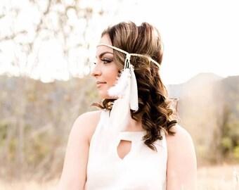 Feather Headband - Feather Hairpiece - White Cream Feathers - Festival Headband - Hippie Headband - Bridal - Wedding