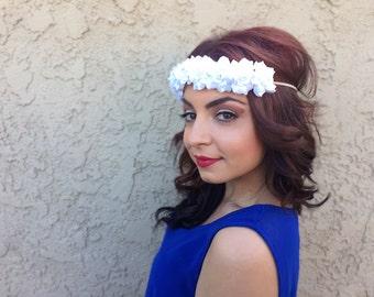 White Rose Headband - Flower Headband - Flower Crown - Hippie Festival Rave Headband - Wedding - Bridal - Bridesmaids - Flower Girl