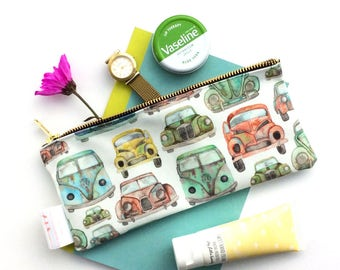 Pencil Pouch, Boys Pencil Case, Car Pouch, Vintage Cars, Gift For Car Lover, Vintage Print, Cosmetic Bag, Small Bag, Toiletries, Campervan