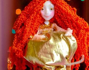 Christmas fairy Christmas ornament Ooak christmas fairy plush doll soft doll fantasy cute pregnancy reveal brave doll pixi window decor