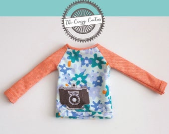 Orange striped baseball shirt with vintage camera · Handmade Barbie clothes