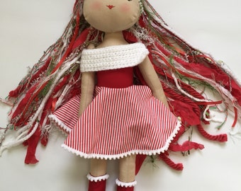 Christmas doll, Collectible doll, fashion doll, cloth doll, heirloom doll, artistic doll, poppet, designer doll, soft doll