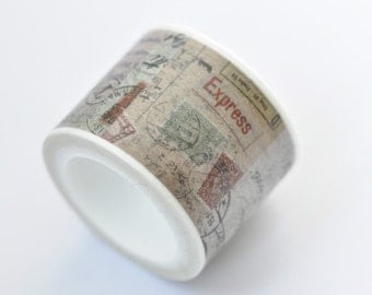 Retro Postmark Washi Tape /Japanese Masking Tape/ Deco Tape  30mm wide x 5m long (1.2 inches X 5.5 yards) No. 12219