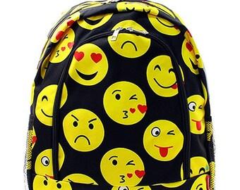 Emoji Print Monogrammed School Backpack