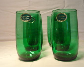Anchor Hocking Forest Green drinking glasses 1950/70.