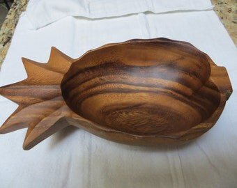 Hawaiian Wooden Pineapple Bowl