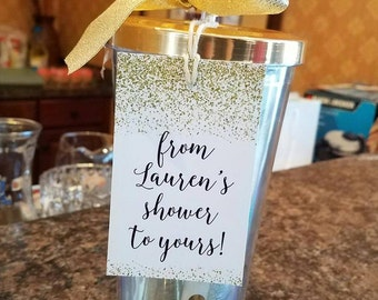 "PRINTABLE Bridal Shower Tags | Gold Glitter Tags | From My Shower to Yours | Shower Favor Tags | 2.5"" x 4"" Tags 