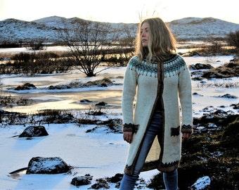 Women fantasy sweater, cardigan long, long lopapeysa, hand knitted from Icelandic wool. Icelandic design. Nordic knitting