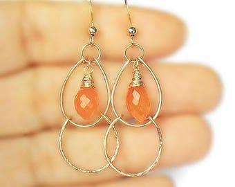 Carnelian 14 K Gold Earrings, carnelian hoops, orange gem hoops, ooak gold earrings, chandelier earrings, wire earring, marquise gem jewelry