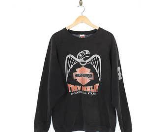 90s Harley Davidson Sweatshirt - Vintage Harley Davidson Native Eagle Flames Sweatshirt - 90s Harley Davidson 44 Fatboyz Black Sweatshirt