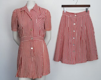 RESERVED Vintage 40s Romper & Matching Skirt Set - 1940s Striped Cotton Seersucker Playsuit
