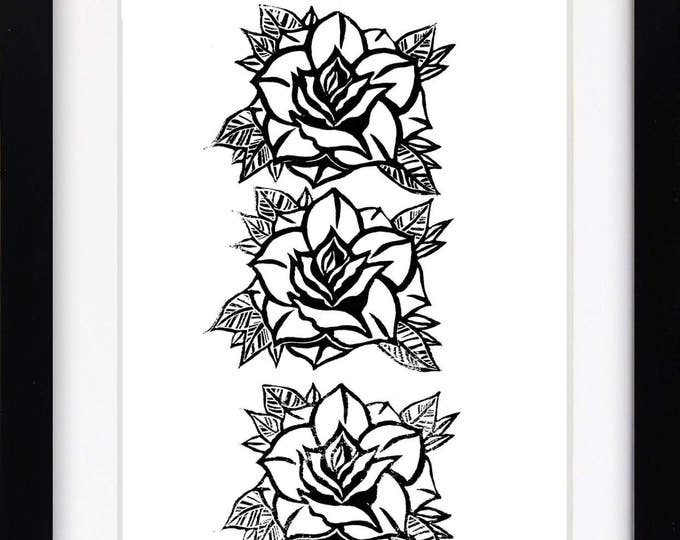 Roses Print, Black Rose Linocut Print, Rose Art Print, Floral Illustration, Rose Poster Wall Hanging, Flowers