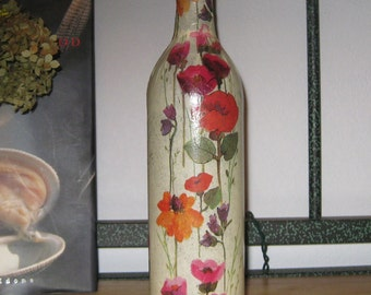 Handcrafted Nightlight with decoupage flowers