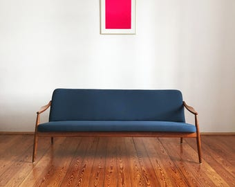 Cherry sofa Hartmut Lohmeyer Wilkhahn teak of 50s 60s Danish modern design