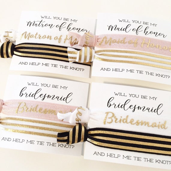 Bridal Party Proposal Hair Tie Gift   Modern Black White + Gold Foil Stripe Hair Ties, Bridesmaid Proposal Card Gift, Matron + Maid of Honor