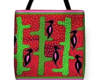 Southwest Cactus Birds Tote Bag - Saguaro Cactus Travel Tote Bag - Decorative Birds Throw Pillow - Housewarming ReUsable Shopping bag Gift