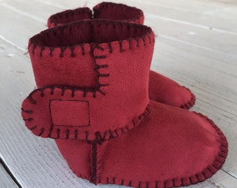 Burgundy red suede ankle boots with soft faux fur lining for newborn/baby