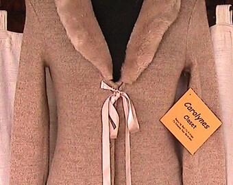 Size __ 1990s Beige Acrylic/Spandex Sweater Jacket