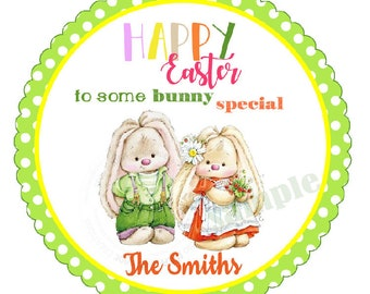 """Custom Happy Easter Bunny Printable 2.5"""" Tags-Cute Bunnies Couple Easter D.I.Y Tags- Personalized Stickers (You Print) 2.5"""" digital file"""