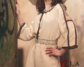 Ivory folk Romanian dress with embroidery