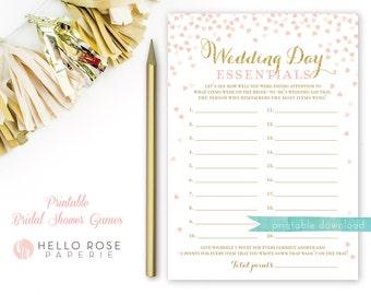 Wedding Day Essentials Bridal Shower Game . Printable Pink and Gold Bridal Shower Game . Printable Instant Download . Gold Glitter and Pink