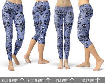 Haunted Mansion Wallpaper - Capri or Full Length, Sports | Yoga | Fleece Leggings in XS-3XL 000751