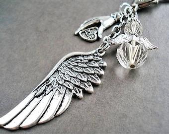 Car Angel Charm Zipper Pull Keychain Wing Purse Charm Gift Angel Keychain Car Accessory Rearview Mirror Charm Key Ring Angel Handbag Charm