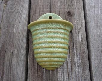 """Vintage Pottery 6"""" Wall Pocket Vase; Mint & Olive Green Ribbed Wall Vase; Retro Wall Hanging Vase; Vintage Home Decor; Vintage Gift"""