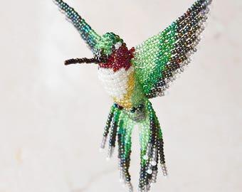 Beaded Bird Ornament, Hummingbird Suncatcher, Window Decor, Bird Necklace, Bird Figurine, Car Decor, Ruby-throated (large) / Made to Order