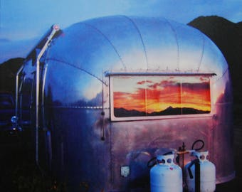 Airstream Trailer Print,Airstream,Vintage,Vintage Airstream,1957,travel photo,Airstream photos,canvas photos,digital,reflection,sunrise