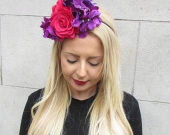 Purple Hot Pink Hydrangea Rose Flower Fascinator Races Headband Headpiece 2305
