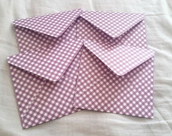 Purple striped envelopes, patterned decorative envelopes, set of four, snail mail, scrapbooking, happy mail, handmade paper envelopes