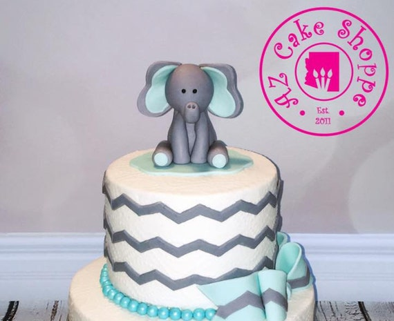 Edible Elephant Cake Decorations : Edible Fondant Elephant Cake Topper