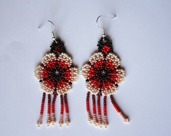 Embroidered earrings - Huichol style  - chakira- red