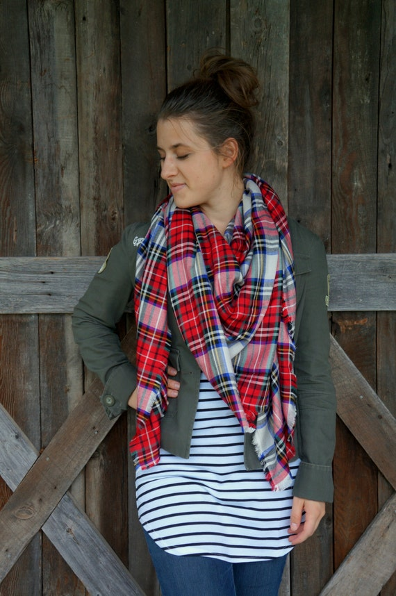 Plaid Blanket Scarf Red, Blue, and White Super Soft