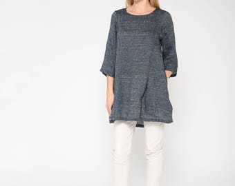Subtly Textured Linen Tunic / Blue Linen Tunic / Casual Maternity Tunic / Linen Top / Blue Maternity Top With Pockets / Loose Fit Top