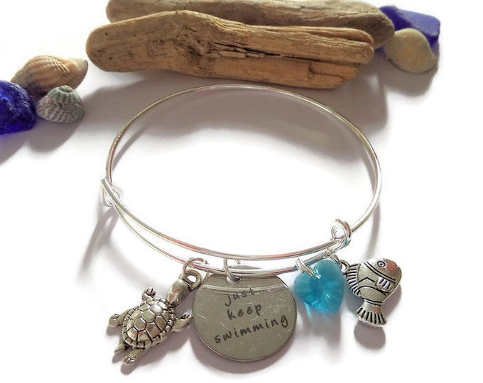 finding nemo gift, dory bangle, nemo bangle, just keep swimming, dory gift, sea jewellery, sea jewelery, dory bracelet, tortoise bracelet,