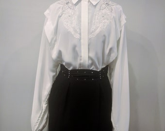 Vintage 1980's ELITE White Western Style Embroidered with Rhinestones 100% Georgette Polyester Blouse