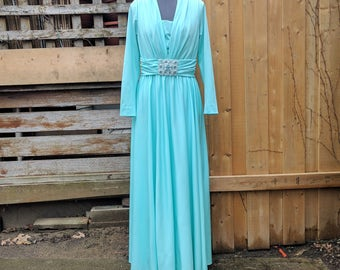 Vintage 1960s 1970s Full Length Long Sleeve Seafoam Mint Green Evening Gown Dress With Beaded Belt Detail
